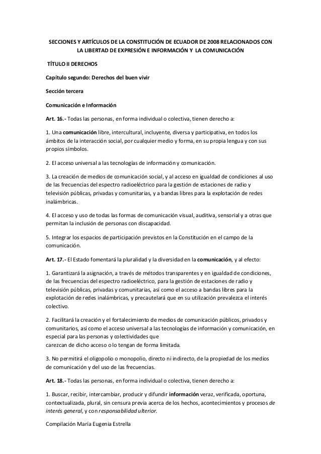 Art 237 culos de la constituci 243 n de ecuador relacionados con la libertad
