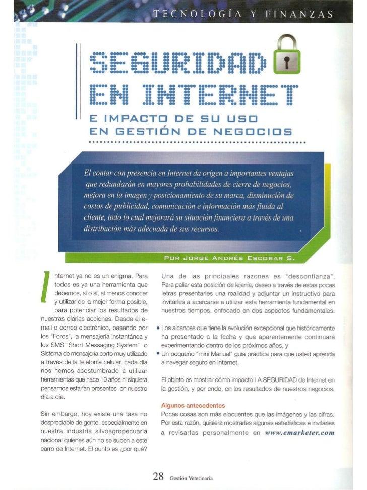 Artículo seguridad en internet   revista gestión veterinaria año 2005