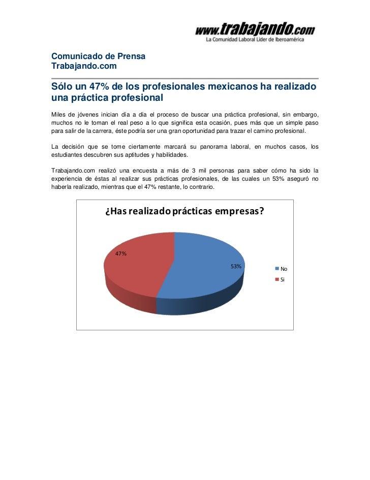 Comunicado de PrensaTrabajando.comSólo un 47% de los profesionales mexicanos ha realizadouna práctica profesionalMiles de ...