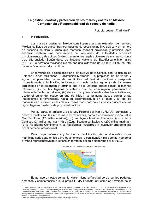 La gestión, control y protección de los mares y costas en México: Competencia y Responsabilidad de todos y de nadie.