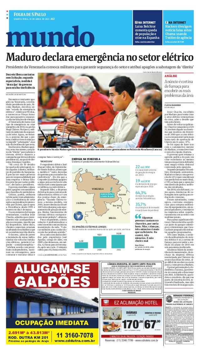 mundoEFQuarta-Feira, 24 De abril De 2013 A12luisabelchiorcomentaquedadepopulaçãoecrisenaespanhafolha.com/luisabelchiorHack...