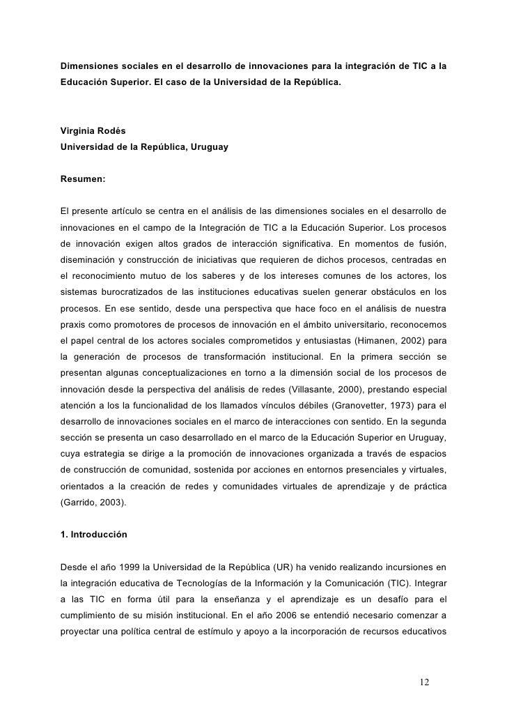 Dimensiones sociales en el desarrollo de innovaciones para la integración de TIC a laEducación Superior. El caso de la Uni...