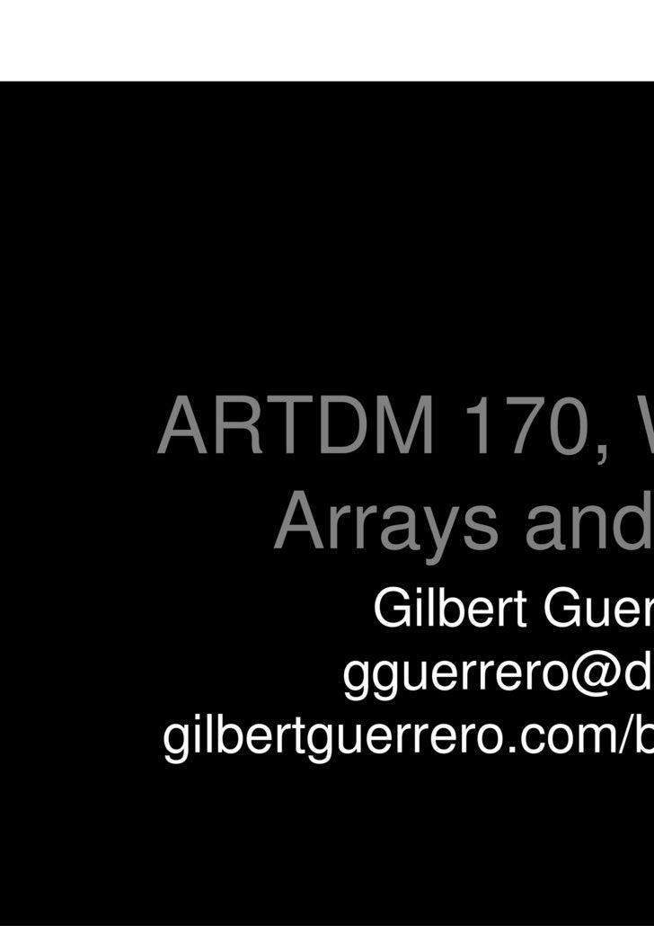 Artdm170 Week10 Arrays Math