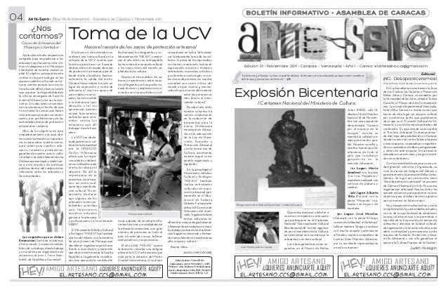 04               Arte-Sano • Boletín Informativo - Asamblea de Caracas • Noviembre 2011                                   ...