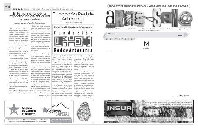08           Arte-San@ • Boletín Informativo - Asamblea de Caracas • Noviembre 2012                                       ...