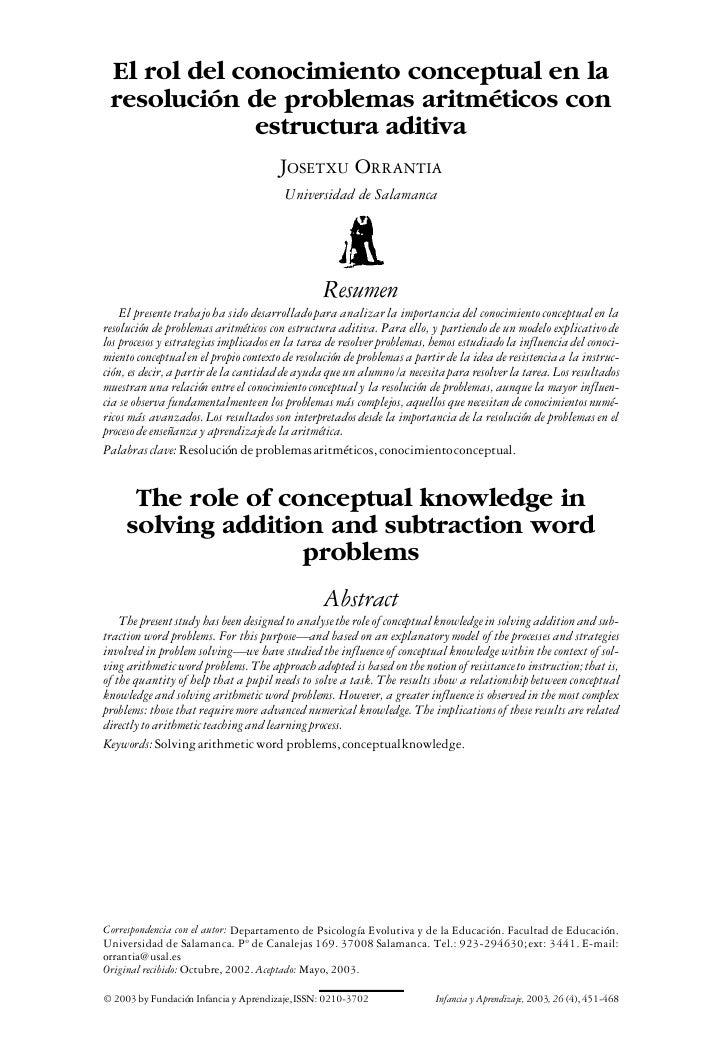 El rol del conocimiento conceptual en la  resolución de problemas aritméticos con               estructura aditiva        ...