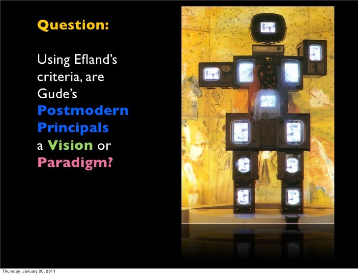 Question:                Using Efland's                criteria, are                Gude's                Postmodern       ...