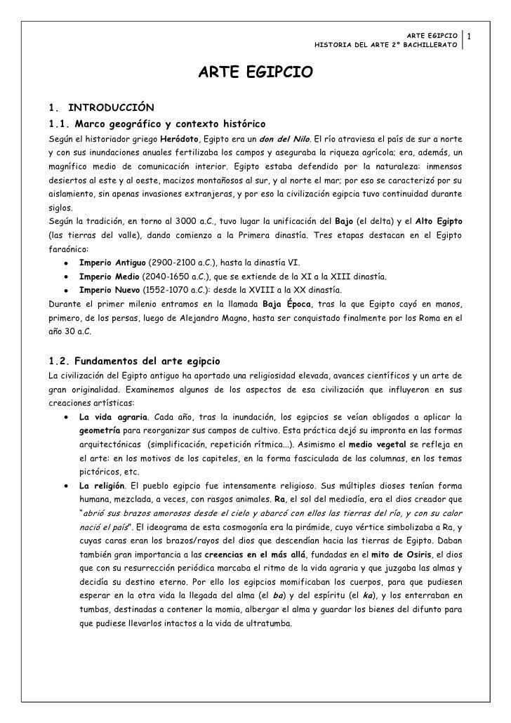 ARTE EGIPCIO       1                                                                     HISTORIA DEL ARTE 2º BACHILLERATO...