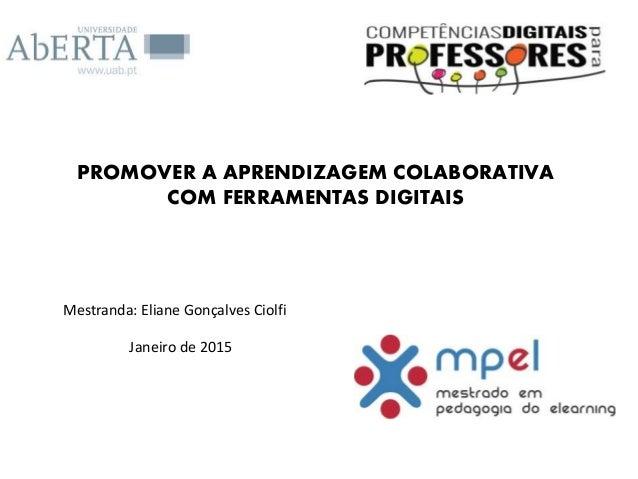 PROMOVER A APRENDIZAGEM COLABORATIVA COM FERRAMENTAS DIGITAIS Mestranda: Eliane Gonçalves Ciolfi Janeiro de 2015