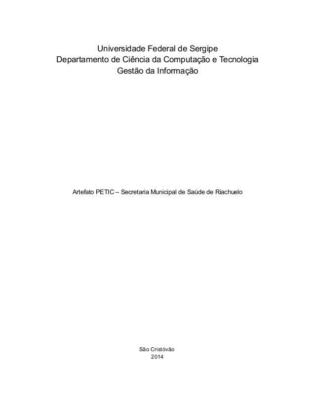 1  Universidade Federal de Sergipe Departamento de Ciência da Computação e Tecnologia Gestão da Informação  Artefato PETIC...