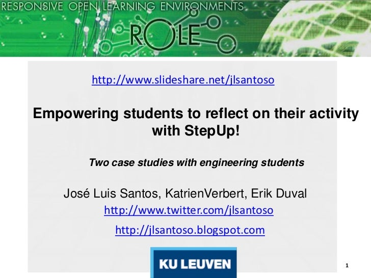http://www.slideshare.net/jlsantosoEmpowering students to reflect on their activity               with StepUp!        Two ...