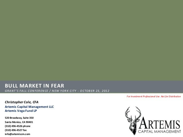 BULL MARKET IN FEARGRANT'S FALL CONFERENCE / NEW YORK CITY - OCTOBER 23, 2012                                             ...
