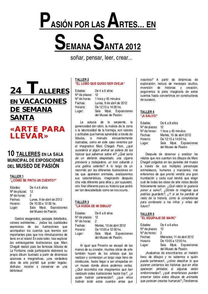 Arte para llevar 24 talleres infantiles en vacaciones de Semana Santa Ocio y Rutas Valladolid
