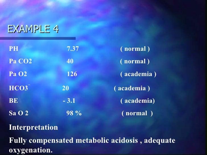 mild hypoxemia with a fully compensated respiratory acidosis 60 - 80 mmhg mild hypoxemia 40 - 60 mmhg moderate hypoxemia  - fully compensated 7 respiratory acidosis respiratory  - respiratory acidosis.