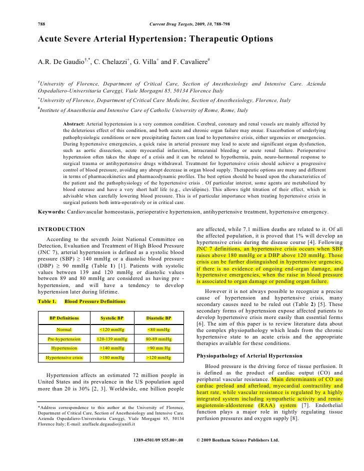 788                                                     Current Drug Targets, 2009, 10, 788-798   Acute Severe Arterial Hy...