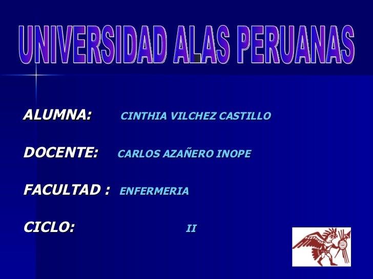 <ul><li>ALUMNA:   CINTHIA VILCHEZ CASTILLO   </li></ul><ul><li>DOCENTE:   CARLOS AZAÑERO INOPE </li></ul><ul><li>FACULTAD ...