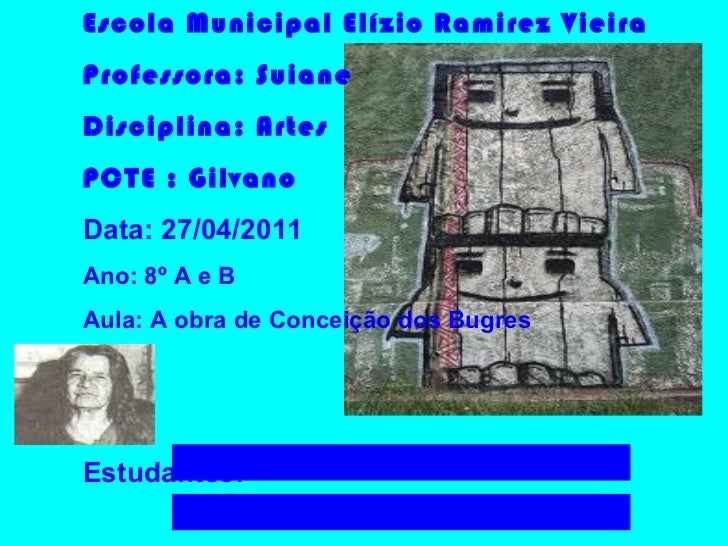 Escola Municipal Elízio Ramirez Vieira Professora: Suiane Disciplina: Artes PCTE : Gilvano  Data: 27/04/2011 Ano: 8º A e B...