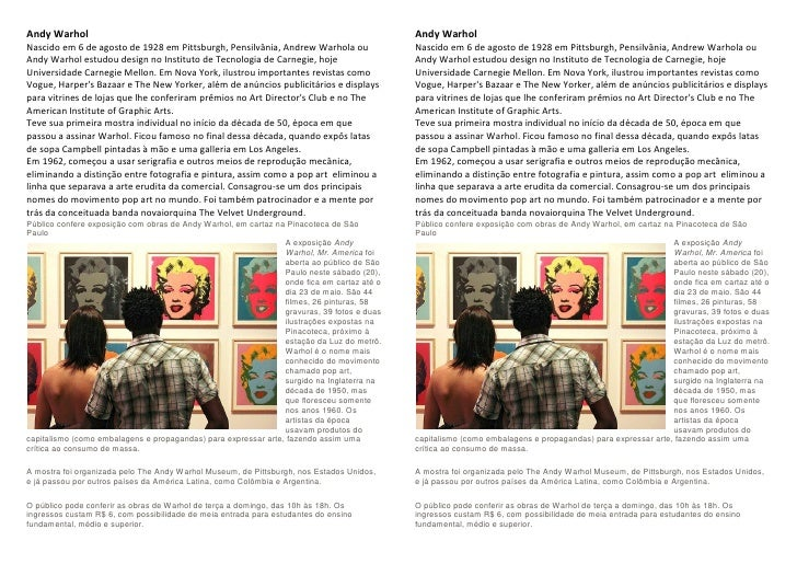 Andy Warhol                                                                                 Andy Warhol Nascido em 6 de ag...