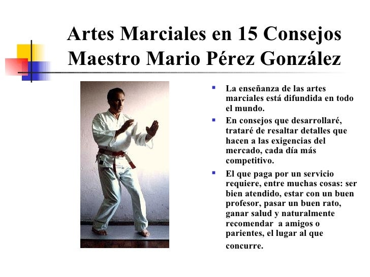 Artes Marciales en 15 Consejos Maestro Mario Pérez González <ul><li>La enseñanza de las artes marciales está difundida en ...