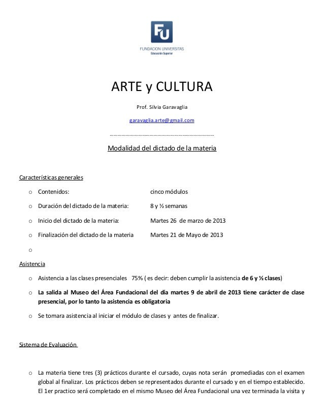 ARTE y CULTURA                                              Prof. Silvia Garavaglia                                       ...