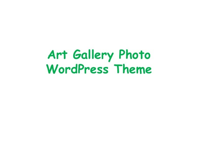 Art Gallery Photo WordPress Theme