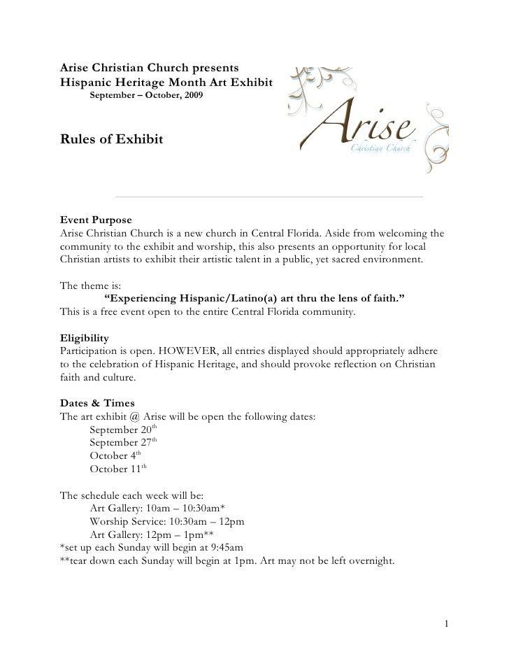 Arise Christian Church presents Hispanic Heritage Month Art Exhibit       September – October, 2009    Rules of Exhibit   ...