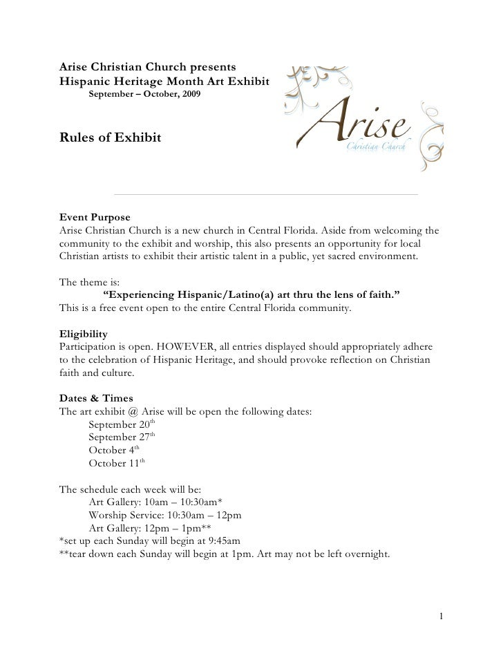 Arise Art Gallery Rules Of Exhibit