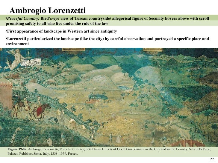 ambrogio lorenzetti peaceful city Ambrogio lorenzetti (or ambruogio laurati c 1290 - june 9 the better preserved well-governed town and country is an unrivaled pictorial encyclopedia of incidents in a peaceful medieval borgo and countryside a distant city.
