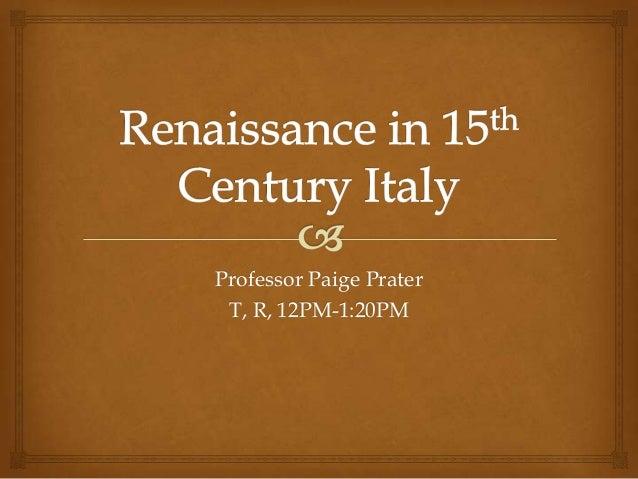 Art History Survey - 15th Century in Italy