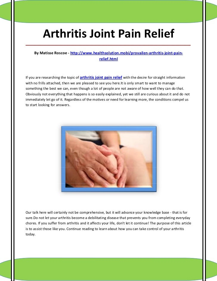 Arthritis Joint Pain Relief_____________________________________________________________________________________     By Ma...
