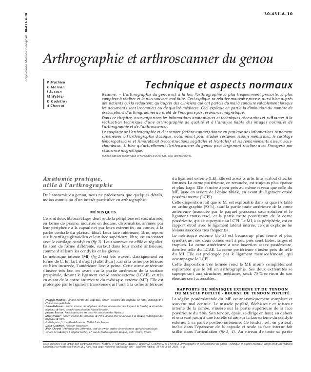 Arthrographie et arthroscanner du genou  P Mathieu  G Morvan  J Busson  M Wybier  D Godefroy  A Chevrot  Technique et aspe...