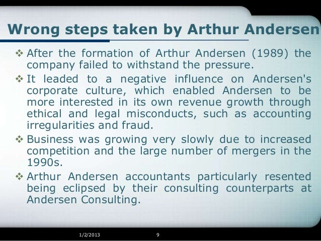 arthur andersen failure to report accurately