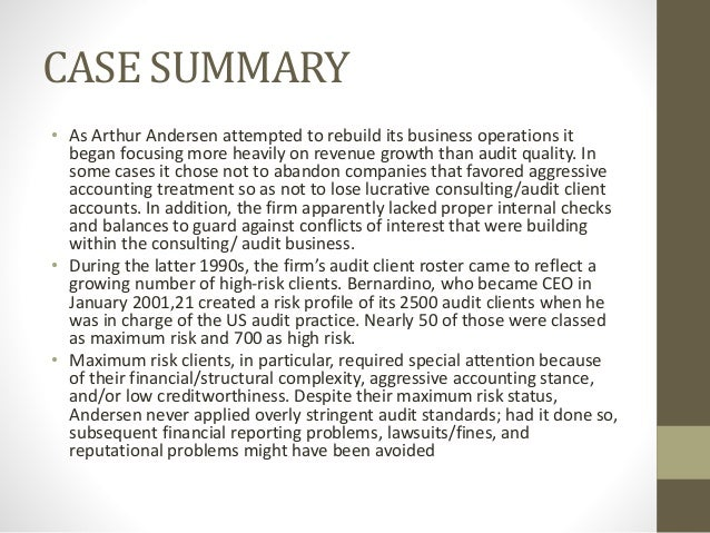 arthur andersen case study analysis