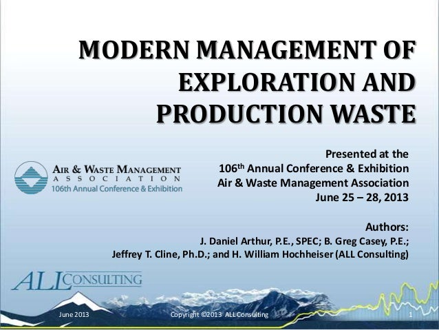 Modern Management of Oilfield Wastes in Unconventional Resource Plays