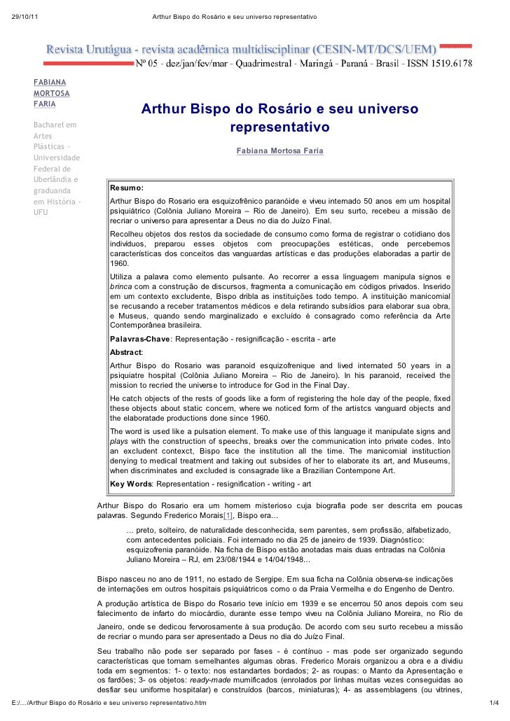 29/10/11                               Arthur Bispo do Rosário e seu universo representativo      FABIANA      MO O A     ...