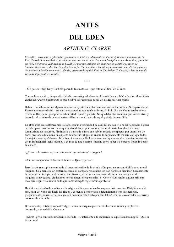 ANTES                                      DEL EDEN                                 ARTHUR C. CLARKECientífico, novelista,...
