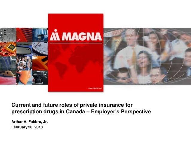 Arthur Fabbro - Role of Private Insurance for Prescription Drugs in Canada