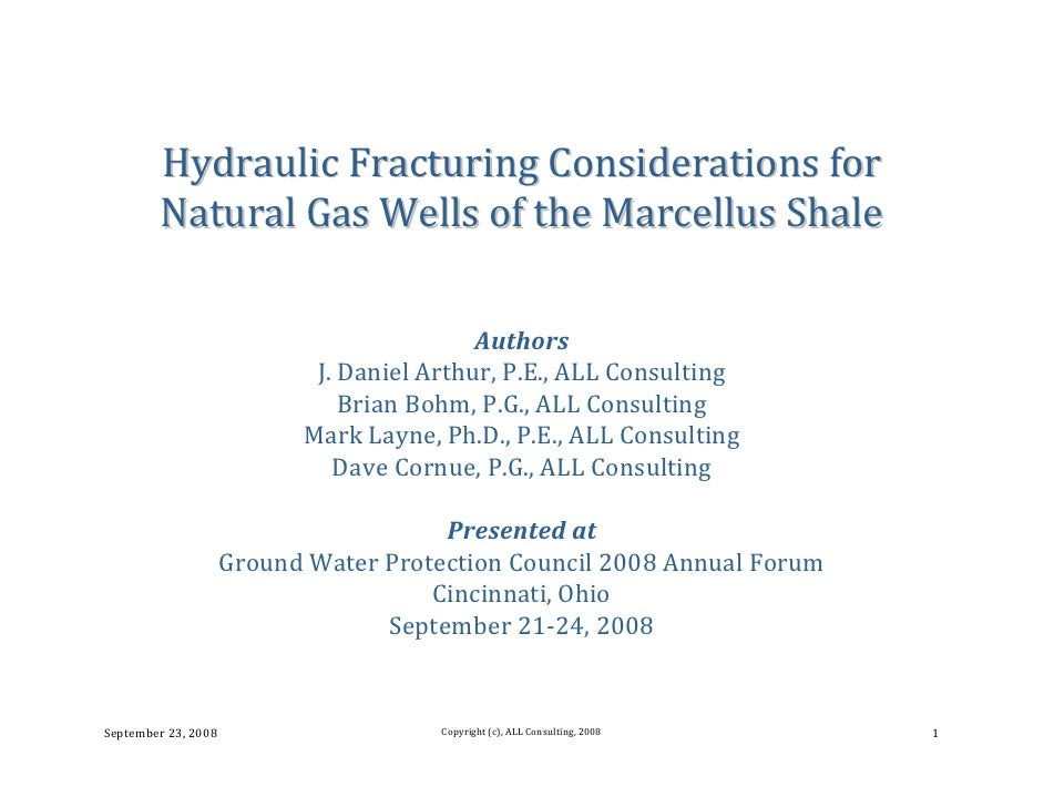 Hydraulic Fracturing Considerations for Natural Gas Wells of the ...