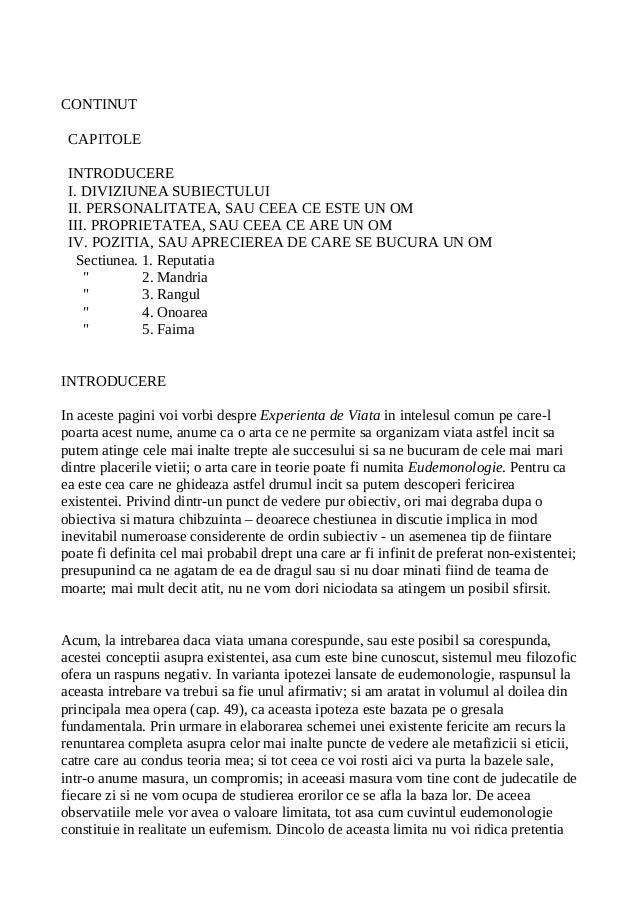 CONTINUT CAPITOLE INTRODUCERE I. DIVIZIUNEA SUBIECTULUI II. PERSONALITATEA, SAU CEEA CE ESTE UN OM III. PROPRIETATEA, SAU ...