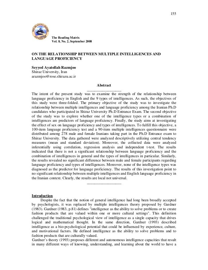 155             The Reading Matrix             Vol. 8, No. 2, September 2008ON THE RELATIONSHIP BETWEEN MULTIPLE INTELLIGE...