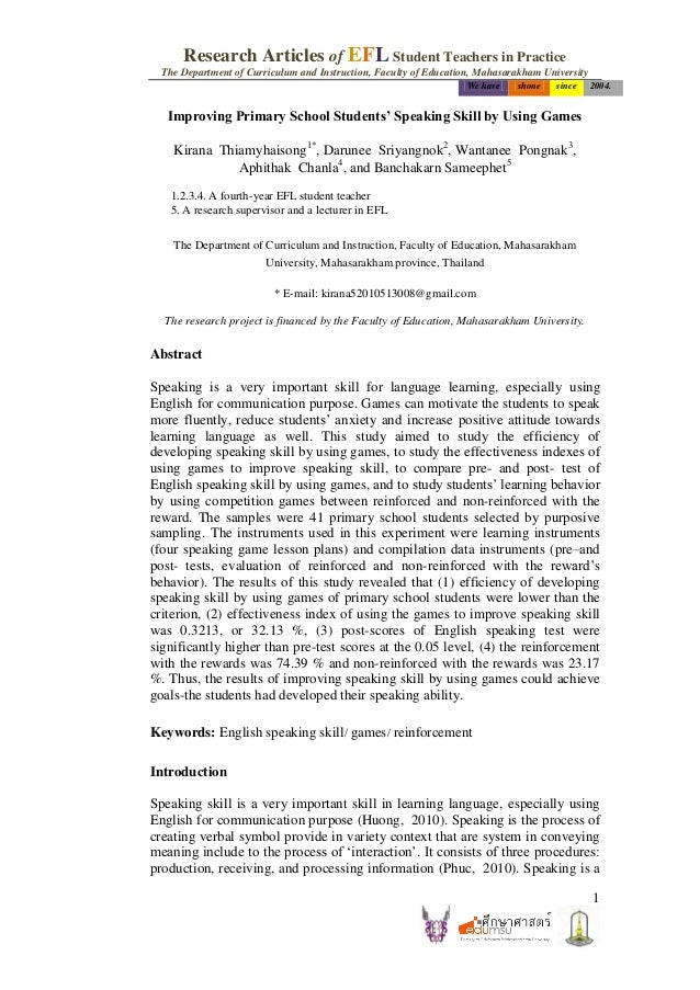 Research Articles of EFL Student Teachers in Practice The Department of Curriculum and Instruction, Faculty of Education, ...
