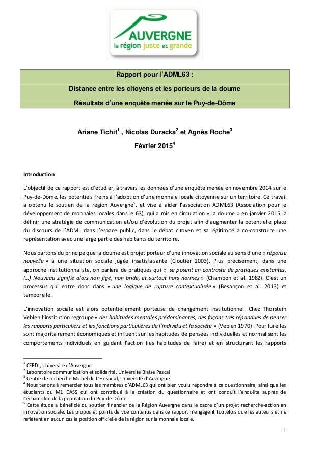 1 Rapport pour l'ADML63 : Distance entre les citoyens et les porteurs de la doume Résultats d'une enquête menée sur le Puy...