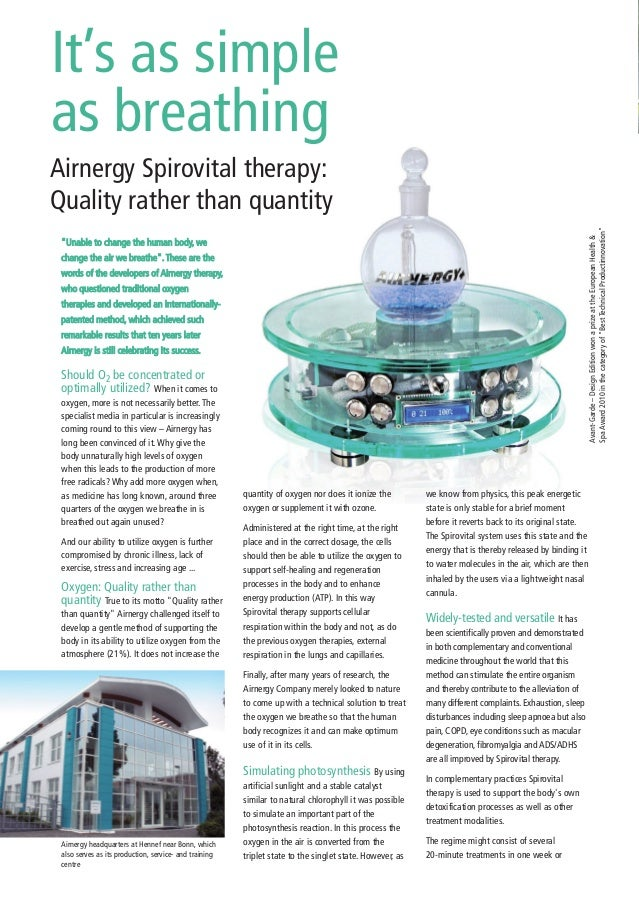 It's as simple as breathing Airnergy Spirovital therapy: Quality rather than quantity we know from physics, this peak ener...