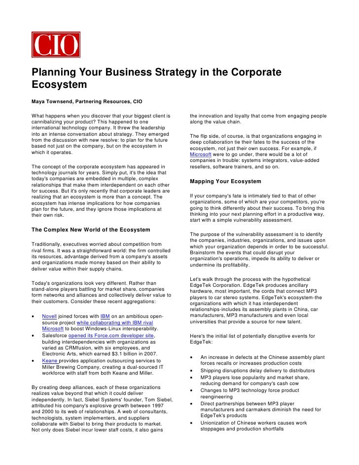 Planning Your Business Strategy in the Corporate Ecosystem Maya Townsend, Partnering Resources, CIO  What happens when you...