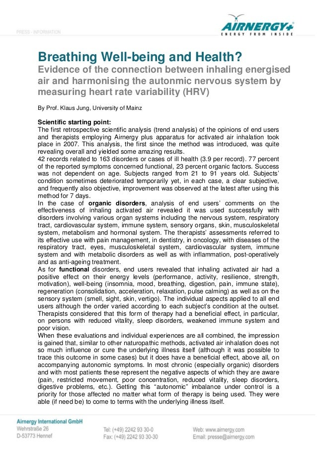 Breathing Well-being and Health? Evidence of the connection between inhaling energised air and harmonising the autonmic ne...