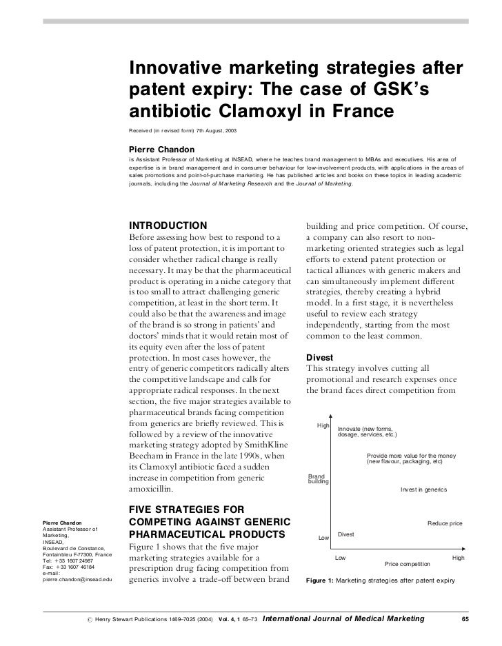 Innovative marketing strategies after                                patent expiry: The case of GSK's                     ...