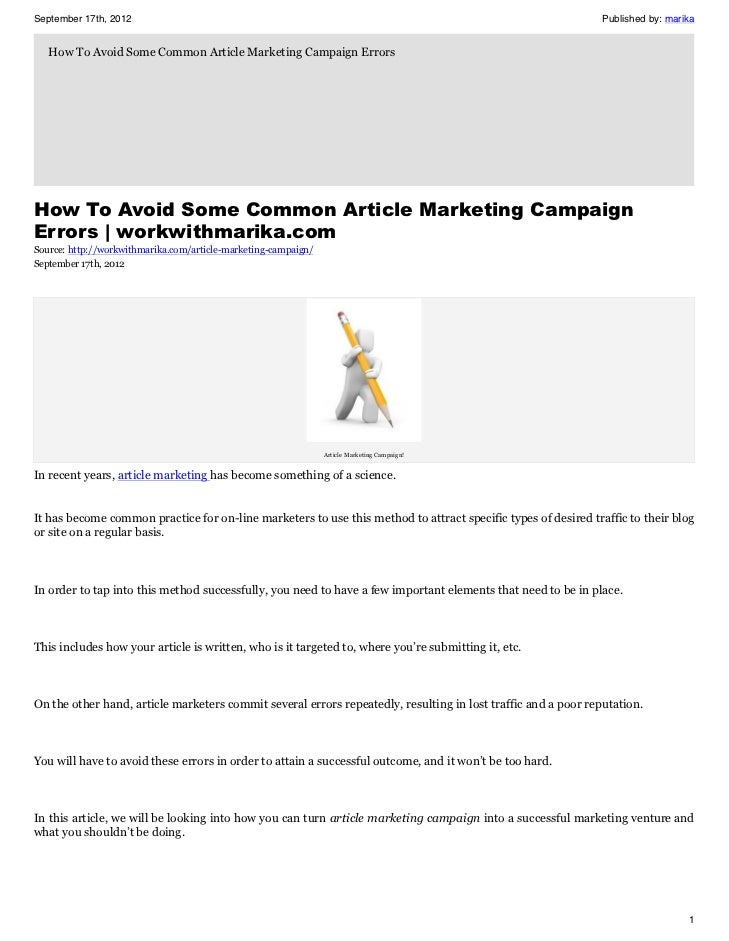 How To Avoid Some Common Article Marketing Campaign Errors