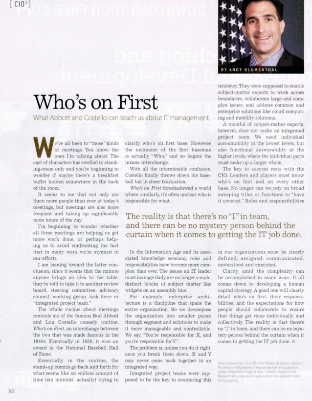 Who's On First - Andy Blumenthal