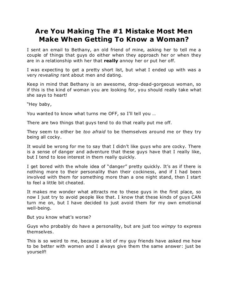 Are You Making The #1 Mistake Most Men    Make When Getting To Know a Woman?I sent an email to Bethany, an old friend of m...