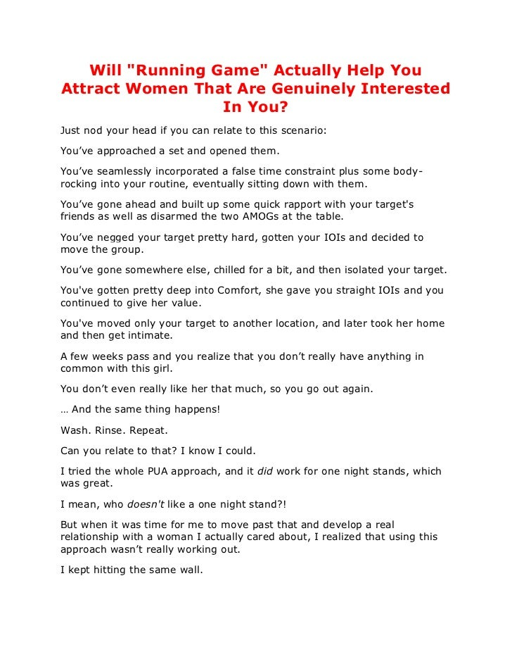"Will ""Running Game"" Actually Help YouAttract Women That Are Genuinely Interested                  In You?Just nod your hea..."